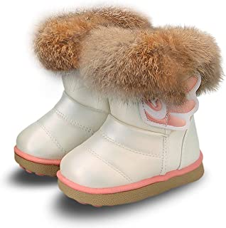 Toddler Girl Warm Winter Snow Boots Plush Inner Outdoor Boots Waterproof Snow Shoes with Wings Flat Easy on for Toddlers Little Girls