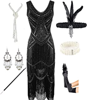 a7f063b6a7 1920s Gatsby Sequin Fringed Paisley Flapper Dress with 20s Accessories Set