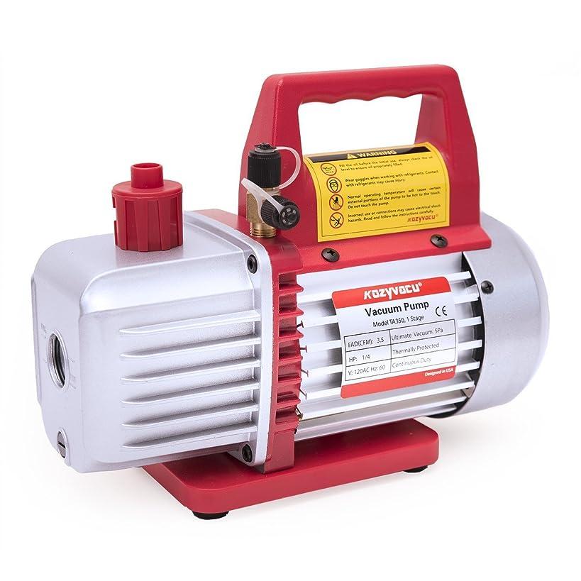 Kozyvacu TA350 Single-Stage Rotary Vane Vacuum Pump for HVAC/Auto AC Refrigerant Recharging, Wine Degassing, Milking, Medical, Food Processing