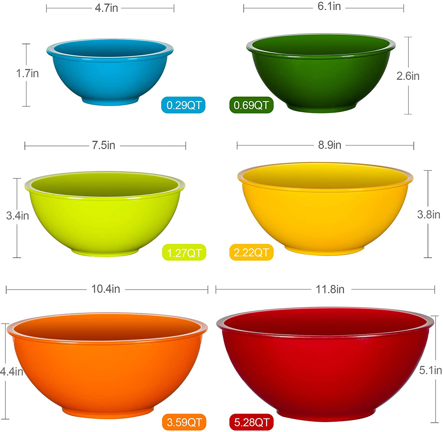 Prepping Cooking and Serving Food YIHONG Plastic Mixing Bowls Set 6 Pcs Serving Bowls for Kitchen Cooking Nesting Bowls Set for Space Saving Storage,Blue Ombre Ideal for Baking