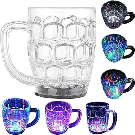 Casotec 7 Oz Automatic Light When Pour Water LED Light Up Drinkware Plastic Tumbler Cups