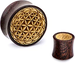 Double Flared Flower of Life Dark Tamarind Wood Plugs - Available in Multiple Sizes - Sold as a Pair