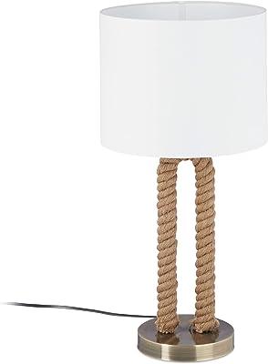 Relaxdays Lampe de table socle cordage amarre lampe de chevet abat-jour blanc tissu maritime, HxD: 52 x 25cm, blanc/brun