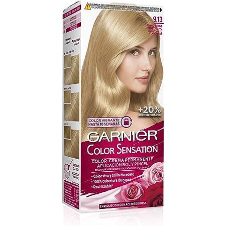 Garnier Color Sensation - Tinte Permanente Rubio Beige Cristalino 9.13, disponible en más de 20 tonos