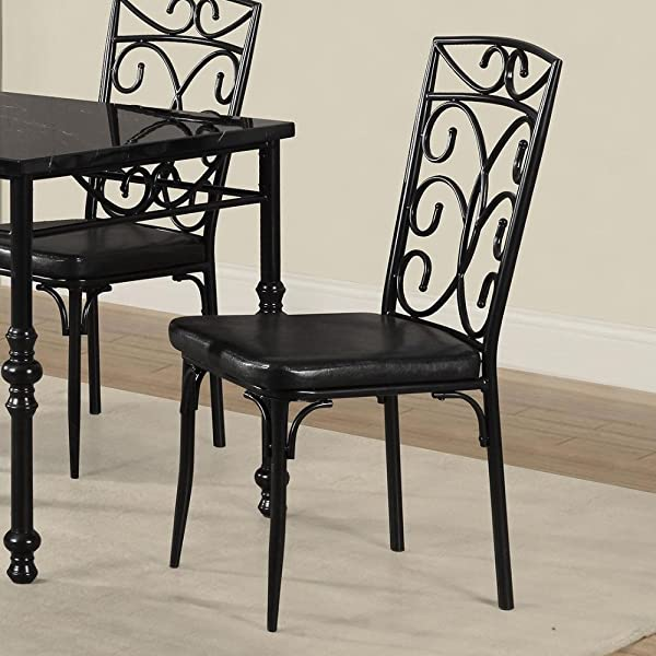 Metal Based Dining Chair With Leatherette Seat Set Of 2 Black