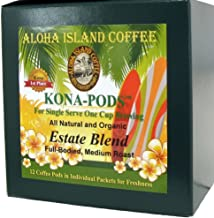 Senseo Pods From Our Chefs Tasting Collection of Kona Hawaiian Coffee Pods, Estate Blend Pods, Box of 12 Pods. Reusable Pod Adapter Is Available for Eco-friendly K-cup Brewing Systems