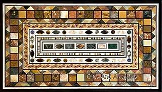 Mesa de café hecha a mano de mármol de 30 x 48 cm, con diseño geométrico de piedras preciosas múltiples