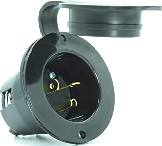 Journeyman-Pro 5378 20 Amp 120-125 Volt, NEMA 5-20P Flanged Inlet, 2500 Watt Black RV/Marine Commercial Grade, Straight Blade Plug Charger Receptacle (w/Back & Front Cover)