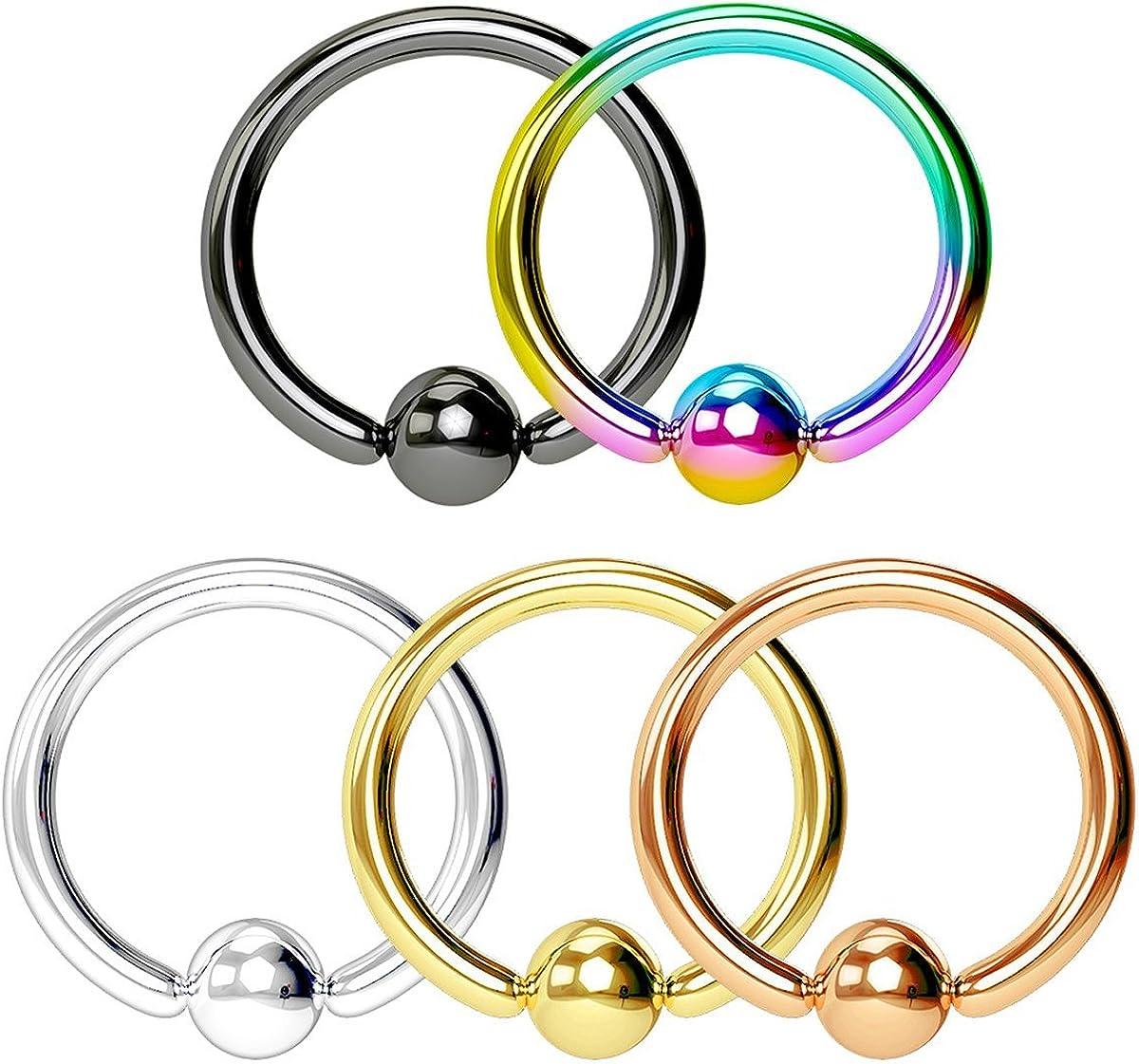 Super Value 5-Pack: 14-20g Surgical Steel Multi Color CBR Body Piercing Hoops (Plain or CZ Gemmed Balls)