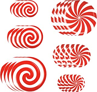 Alpurple 24 Pieces Peppermint Floor Decals Stickers-3 Sizes Self-Adhesive Design Christmas Candy Stickers,Floor Window Cli...