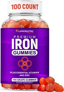 Iron Gummies for Adults and Kids | Biotin Zinc Vitamin B Folic Acid Vitamin Gummies | Vegan Gluten Free Blood Builder Anem...