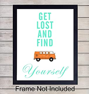 Travel Quote - Unframed Wall Art Print - Motivational and Inspirational - Makes an Easy Affordable Gift - Perfect Home Decor - Ready to Frame (8x10) Photo - Get Lost and Find Yourself