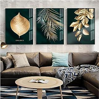 Planta dorada abstracta deja cartel de imagen de pared pintura de estilo moderno sobre lienzo arte de la sala de estar ori...