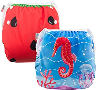 ALVABABY Swim Diapers 2pcs Reuseable Washable for Baby Swimming Lessons (Baby Girls) (Watermelon & sea Horse, one Size (0-2 Years Old)) DYK37-D38