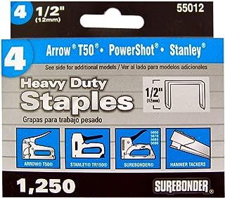 Arrow T50 Type Surebonder 55012 Heavy Duty 1//2-Inch Length Staples 1250 Count