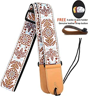 Guitar Strap 2 inches with Leather Ends Adjustable for Bass Acoustic Classical and Electric Guitars with Leather Strap Button and Guitar Picks by WINGO