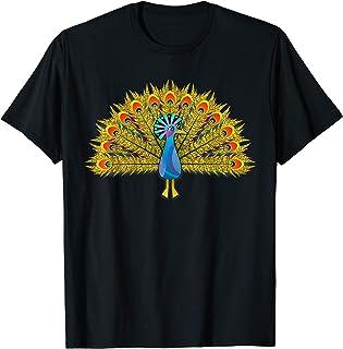 oiseau d'or paon femmes cadeau vintage animal filles T-Shirt