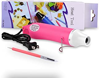 Hand Hold Mini Heat Gun Hot Air Gun Embossing Multi-Purpose Heat Tool with Dotting Tool(Pink)