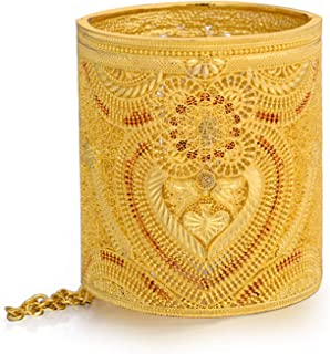 24 كيلو مطلية بالذهب والخيل للنساء مقاس سوار 3.03 بوصة عرض نسائي سوار داخلي