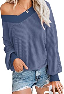 Glanzition Womens Casual Off The Shoulder Tops V Neck Long Sleeve Waffle Knit Pullover Sweater