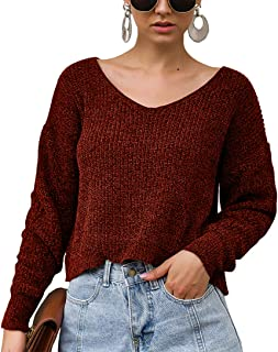 BTFBM Women V-Neck Long Sleeve Solid Chenille Soft Knit Sweater Crop Top Fashion Casual Pullover for Autumn Winter