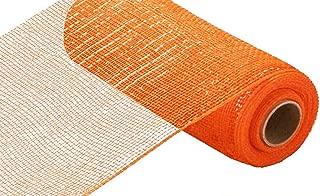 10 inch x 30 feet Deco Poly Mesh Ribbon - Value Mesh (Orange, Orange Foil)