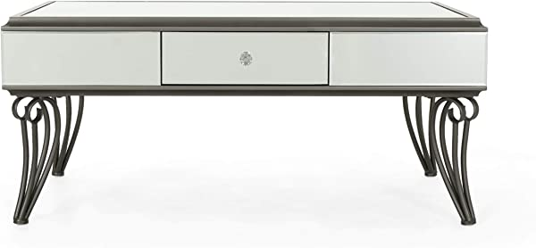 Ophelia Modern Mirrored Coffee Table With Drawer Tempered Glass Black Iron Frame