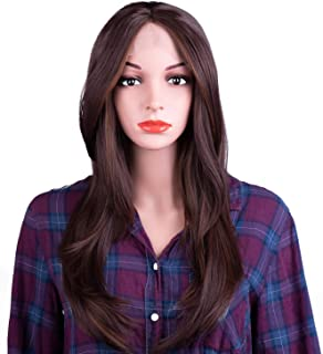 MelodySusie Lace Front Wigs for Women, Glueless Middle Part Synthetic Hair Wigs Half Hand Tied Heat Resistant Cosplay Costume Daily Party Wig with Free Wig Cap (Brown)