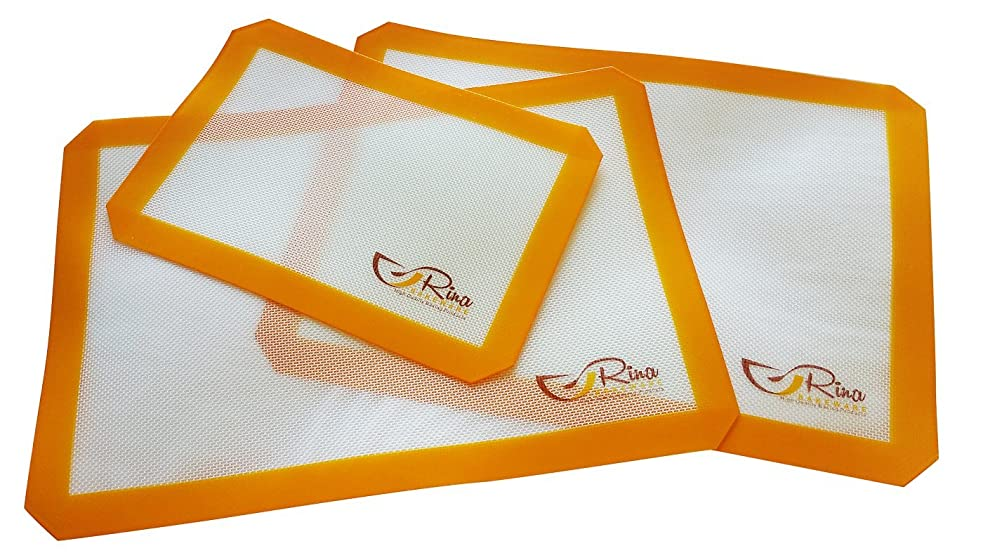 エンゲージメント一流世界Rina Bakeware - Silicon Baking Mat Set of 3 (2 half size and 1 1/3 size) - non stick - BPA free - high grade - cookware set