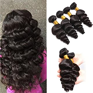 NICE QUEEN Brazilian 8A Unprocessed Loose Wave Remy Virgin Human Hair Weave Pack of 3 Hair Extensions Natural Color (12 14 16)