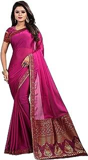 Rajeshwar Fashion Women's Silk Embroidered Saree Silk Georgette Saree Printed Saree with Blouse Piece (New,A22 Purple)