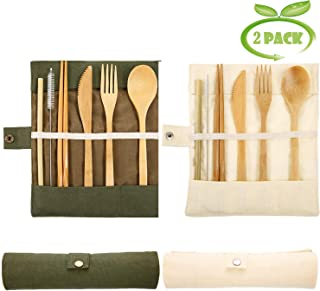 Juego de cubiertos de bambú reutilizable, juego de cubiertos de bambú ecológico, juego de utensilios de madera para tenedor, cuchara, cuchillo, palillos, pajita (2 unidades)