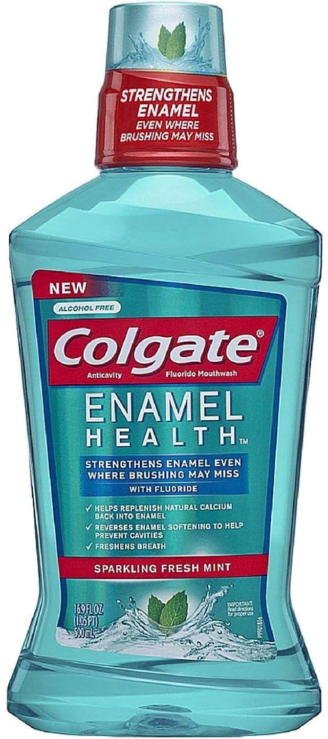 閉塞低下消すColgate エナメル健康虫歯予防フッ素うがい薬、スパークリングフレッシュミント16.90オズ(5パック) 5パック