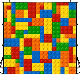 Colorful Bricks Chips Photography Backdrop for Lego Theme Party, 6x6FT, Children Kids Birthday Cake Table Banner Background, Photo Booth Studio Props LYLU690