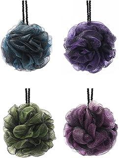 comprar comparacion KFZR Paquete de 4 grandes exfoliantes cuerpo de baño de ducha Esponja Puff para hombres y mujeres Verde Azul Rosa Púrpura ...