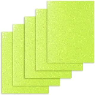 TECKWRAP 5 Sheets 12 Inch x 10 Inch Glitter Heat Transfer Vinyl Iron on Vinyl Letters, Neon Yellow