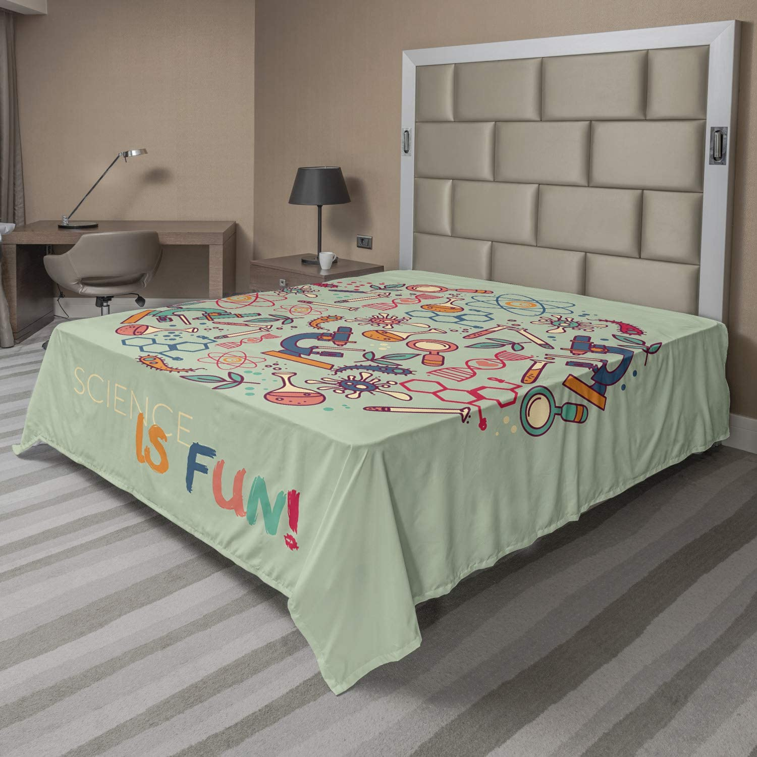 Lunarable Science Flat Sheet San Antonio Mall is with Theme Molecule Cheap mail order sales Fun