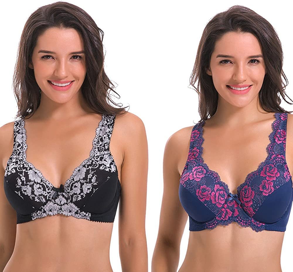 Curve Muse Women's Minimizer Unlined Underwire Bra with Lace Embroidery-2 Pack