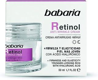 BABARIA Crema Facial Antiarrugas Mujer Retinol y Acido Hialuronico Blanco 50 Mililitros