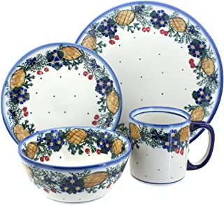 Blue Rose Polish Pottery Pinecone 4 Piece Place Setting - Service for 1