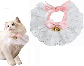Dog Cat Collar Bow Tie - Kitten Puppy Necklace Jewelry with Bell Lace Bowknot Pet Bowtie Girl Bandanas Costume Decor Acces...