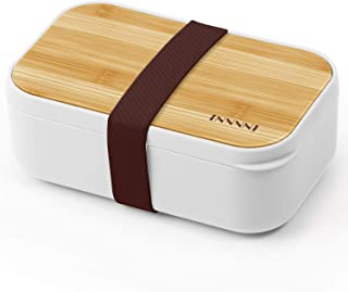 INVVNI Bento Lunch Box Japanese Bamboo Containers for Adults & Kids White - Microwave safe, Bpa free, Airtight, Leakproof,...