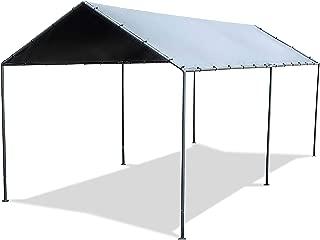 Abba Patio 10 x 20-Feet Light Portable Canopy with 6 Steel Legs, Silver & Dark Grey