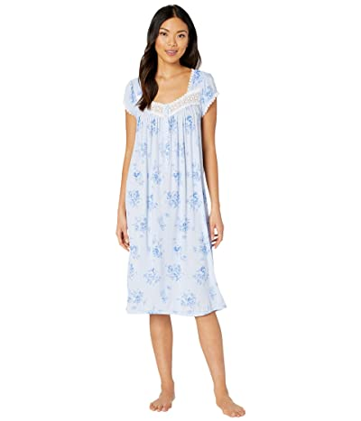 Eileen West Modal Spandex Jersey Knit Cap Sleeve Waltz Nightgown (Peri Ground/Mono Floral) Women