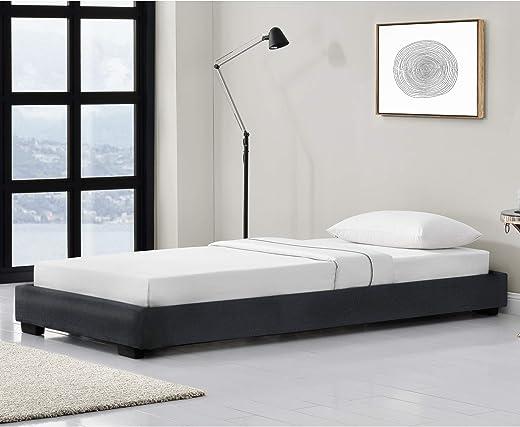 Corium Kunstlederbett Polsterbett aus Kunstleder Bettgestell mit Lattenrost 90×200 cm Bett inkl. Lattenrahmen Einzelbett Jugendbett Lederimitat in…