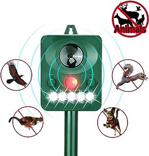 Wikoo Ultrasonic Animal Repeller, Solar Ultrasonic Animal Repeller Scarer Support Cable Charging,Waterproof Wild Animal and Pest Deterrent,Very Effective for Cats,Raccoons,Squirrels,Skunks etc