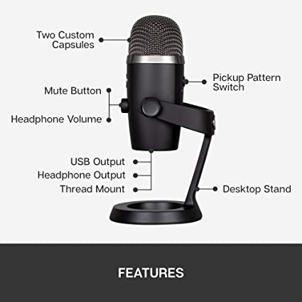Blue Yeti Nano Premium USB Microphone for Recording, Streaming, Gaming, Podcasting on PC and Mac, Condenser Mic with Blue VO!CE Effects, Cardioid and Omni, No-Latency Monitoring - Blackout