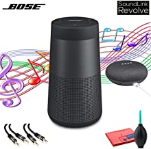 Bose SoundLink Revolve Bluetooth Speaker (Triple Black) with Google Home Mini, 3.5mm Aux Cables and Cleaning Kit