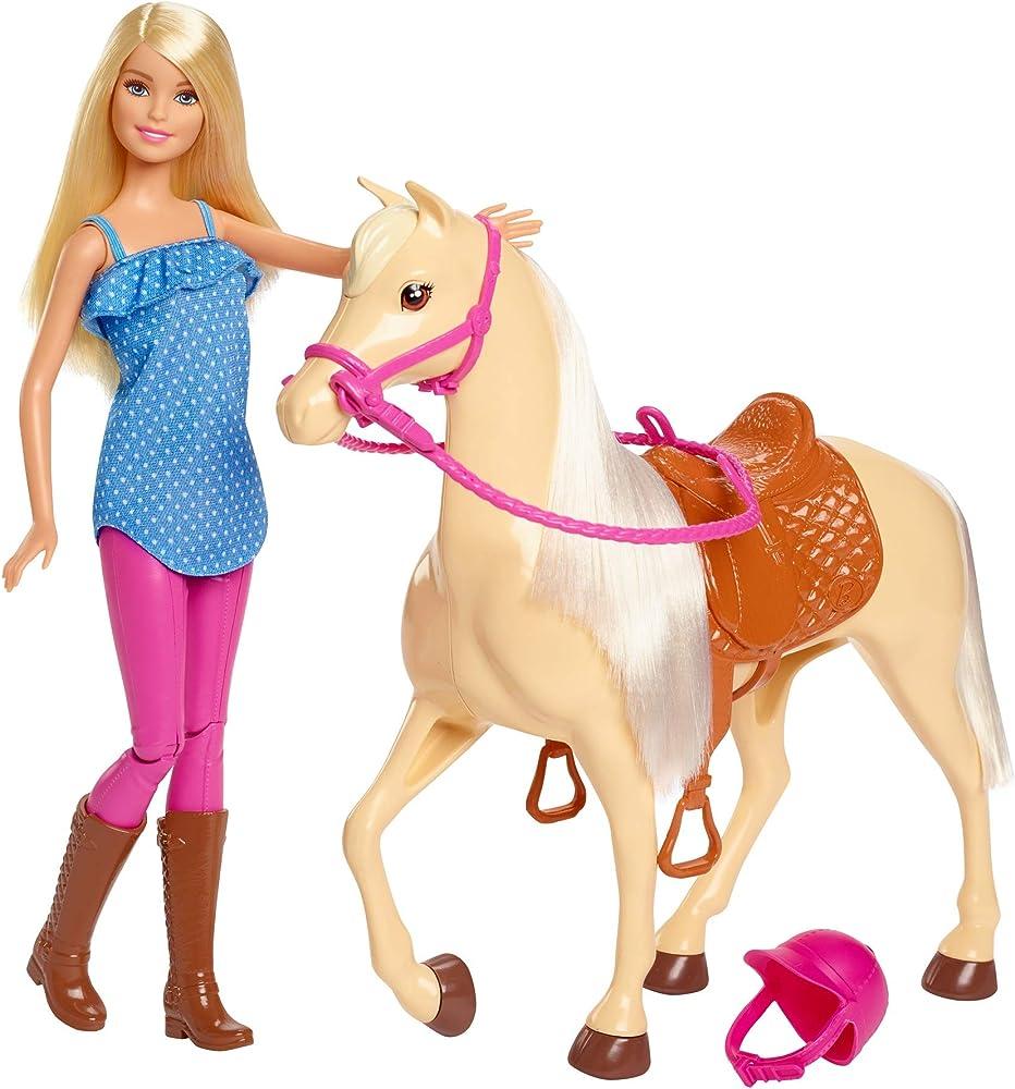 Barbie bambola con cavallo e accessori, giocattolo per bambini 3+ anni FXH13