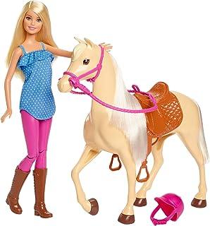 دمية بملابس ركوب الخيل وخوذة مع مجسم حصان من باربي FXH13 - متعددة الالوان